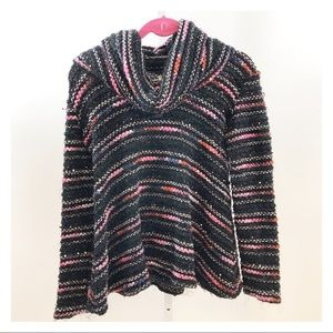 Vintage Chunky Knit Cowl Mixed Yarn Black Sweater